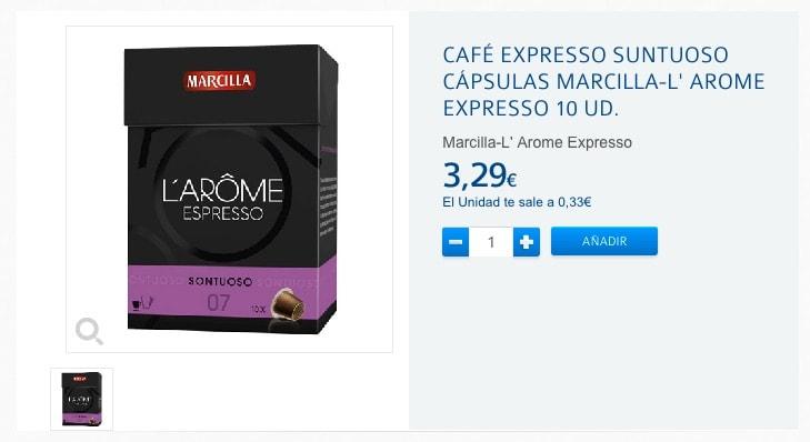 CAFÉ EXPRESSO SUNTUOSO CÁPSULAS MARCILLA-L' AROME EXPRESSO 10 UD.