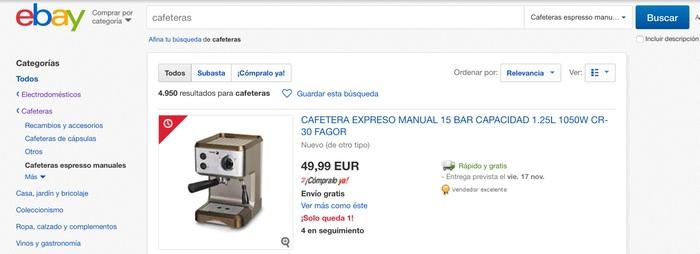 ¿Dónde podemos comprar cafeterasde segunda mano? eBay España