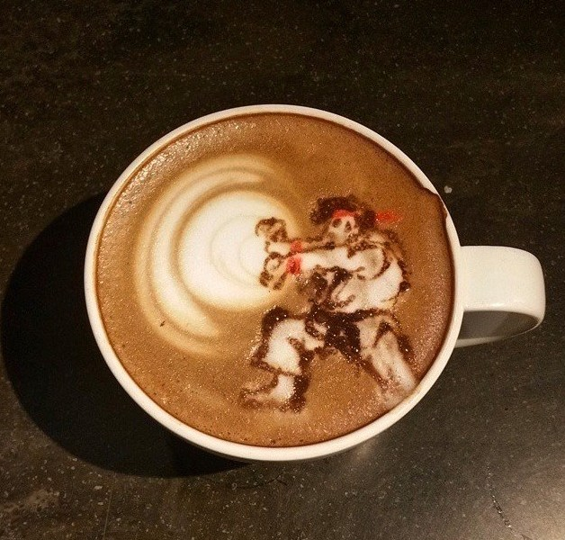 Café Latte Art en forma de videojuego: Hadoken de Ryu (Street Fighter)