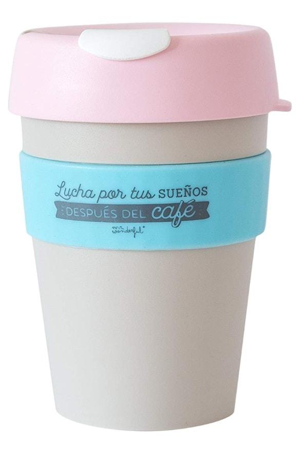 """Mr. Wonderful Taza reutilizable KeepCup """"Lucha por tus sueños después del café"""""""