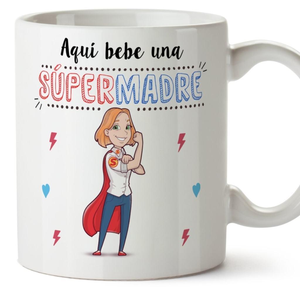 """Taza de MUGFFINS: """"AQUÍ Bebe UNA Super Madre"""""""