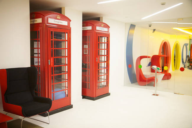 Private calling booths in Google's London office.