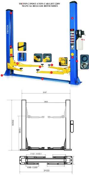 4 ton 2 post car lift 220v Single side Manual release