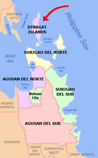 caraga map dinagat islands