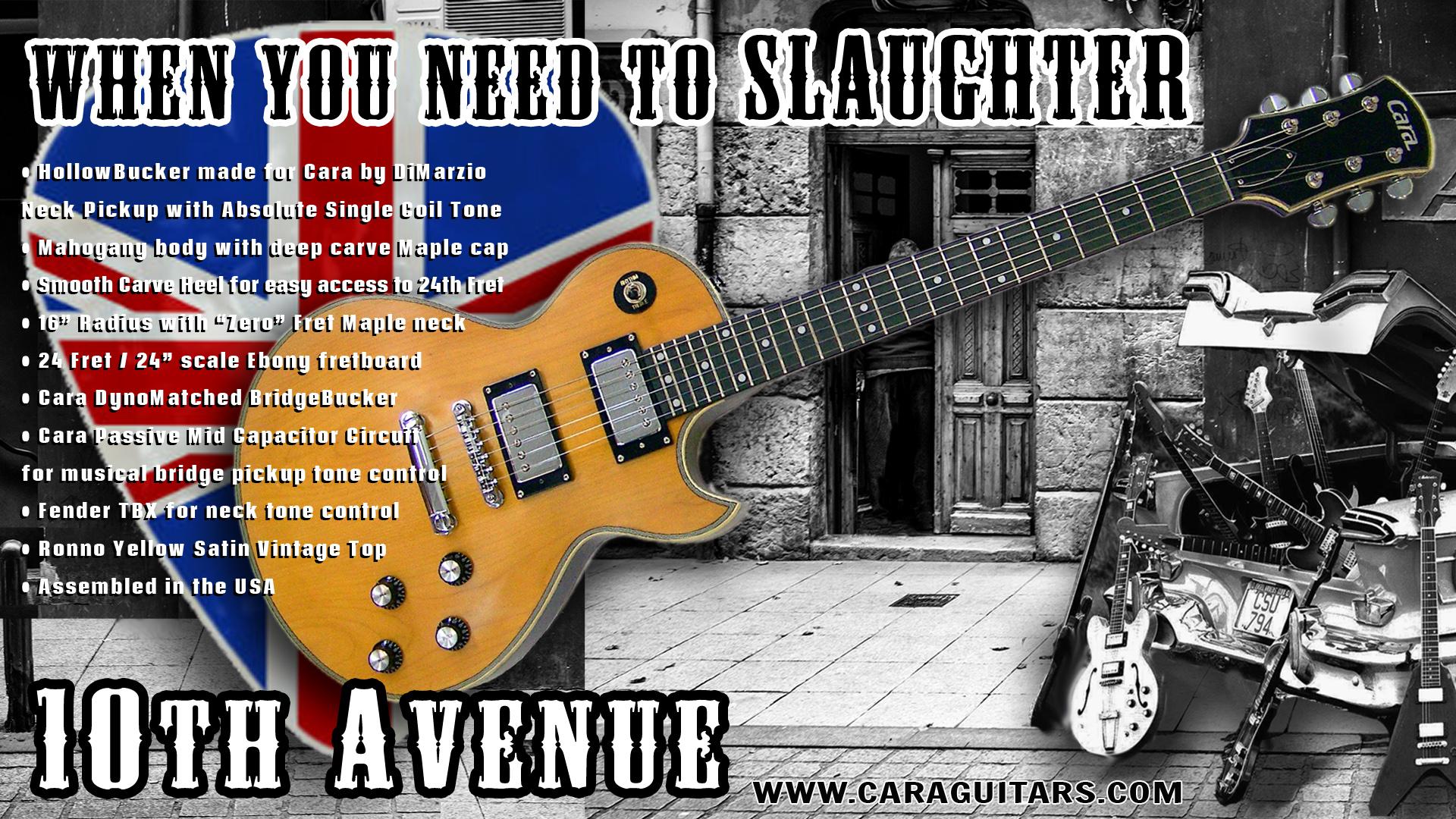 Cara Guitars 10th Avenue Deluxe Single Cutaway in Mick Ronson Ronno Yellow