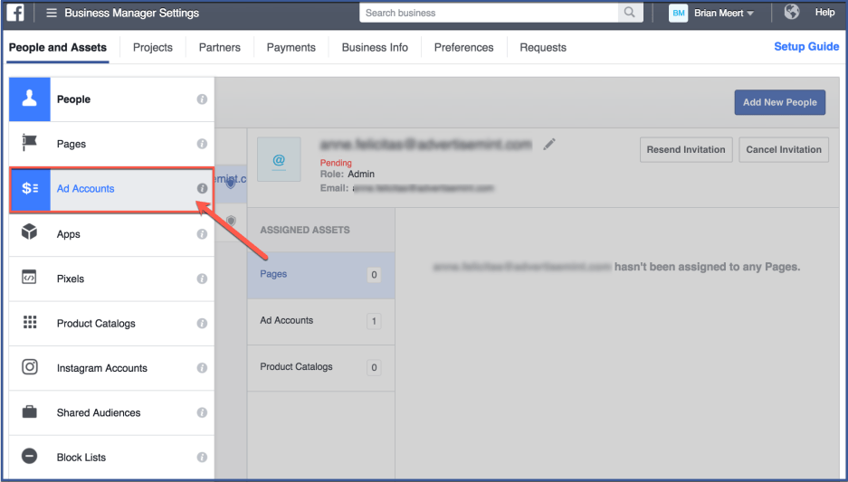 Business Manager setting for facebook ads