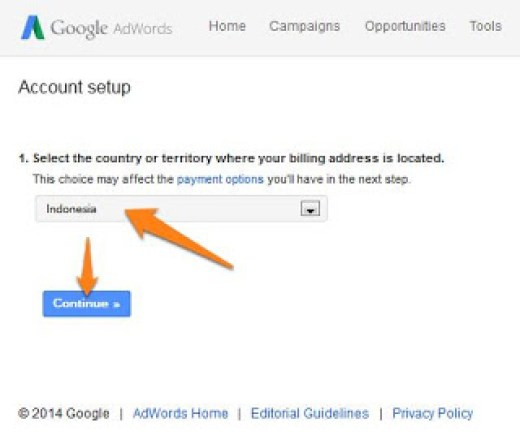 Formulir Alamat Penagihan google adword