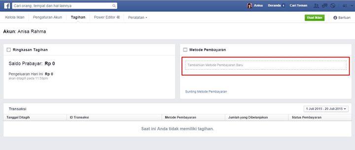 Metode Pembayaran facebook ads