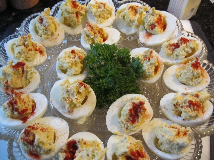 Tray of ready to eat Devilled Eggs
