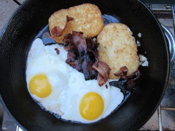 Eggs, Bacon & Hash Browns symbolize camp cooking for many