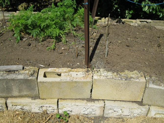Surplus bricks = raised bed garden