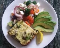 Frittata, Avocado & Greek Salad