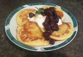 Coconut flour pancakes & home canned blueberries
