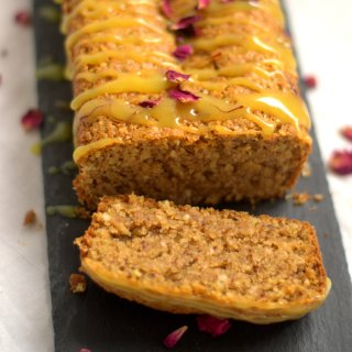 Coconut & Almond Egg-less Cake with a Saffron Rose-Water Glaze
