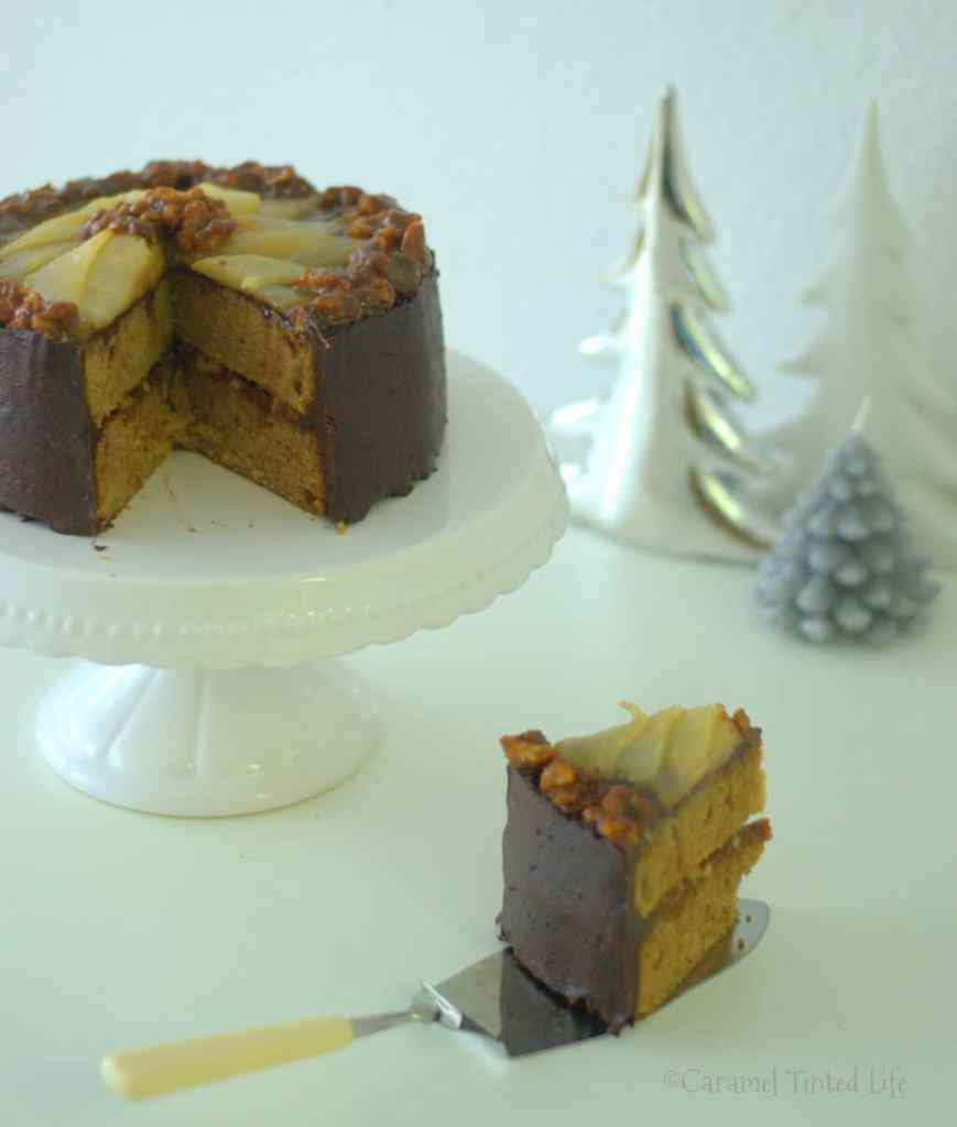 Walnut-Pear Layer Cake With Chocolate Ganache
