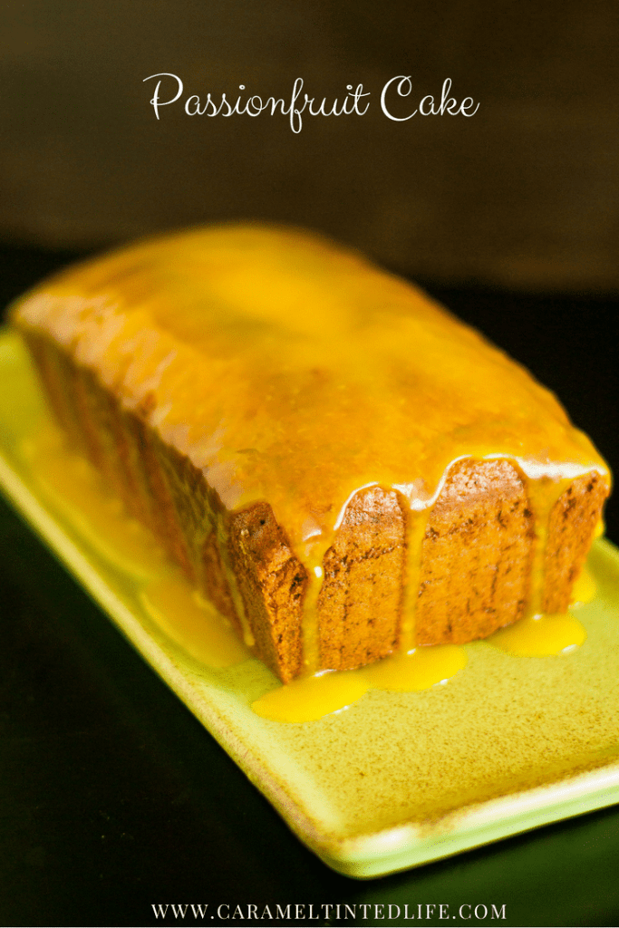 Passionfruit cake with passionfruit curd
