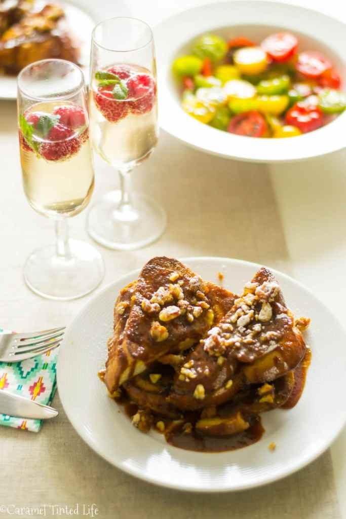 Baileys french toast served with mimosa
