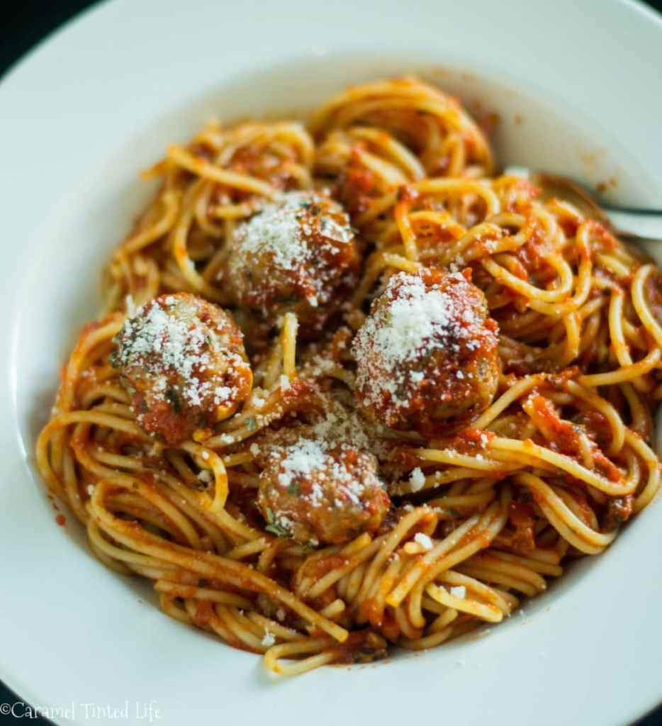 Spaghetti and meatballs with a family favorite sauce