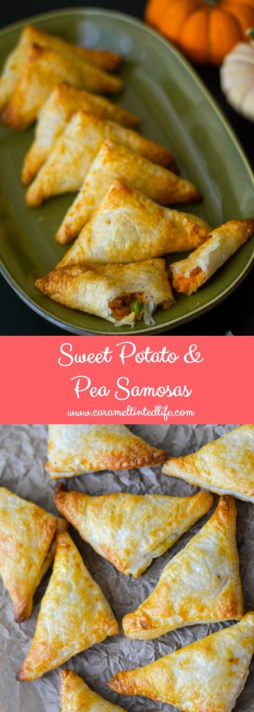 Sweet potato and pea puff pastry samosas