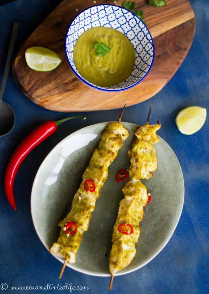 Chicken Satay with Rice noodles and dipping sauce