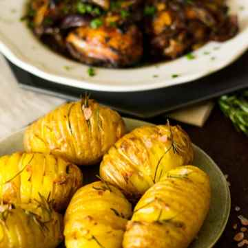 Mediterranean Roast Chicken and Hasselback potatoes