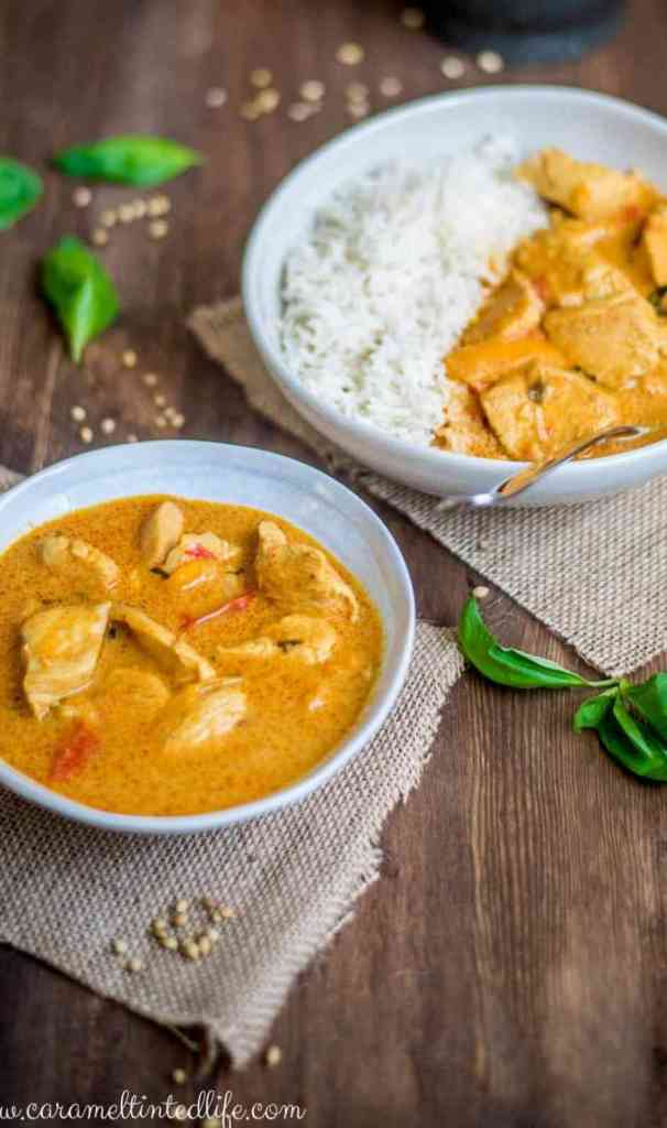 Instant Pot Thai Chicken Curry and Rice in a bowl