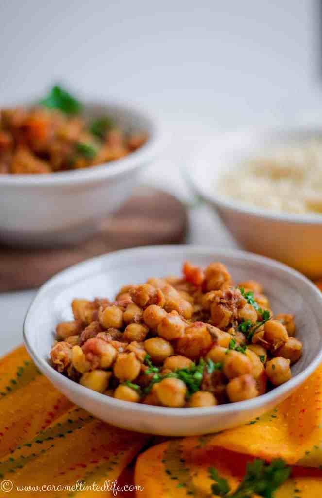 Instant Pot Chickpea Tagine served in a bowl