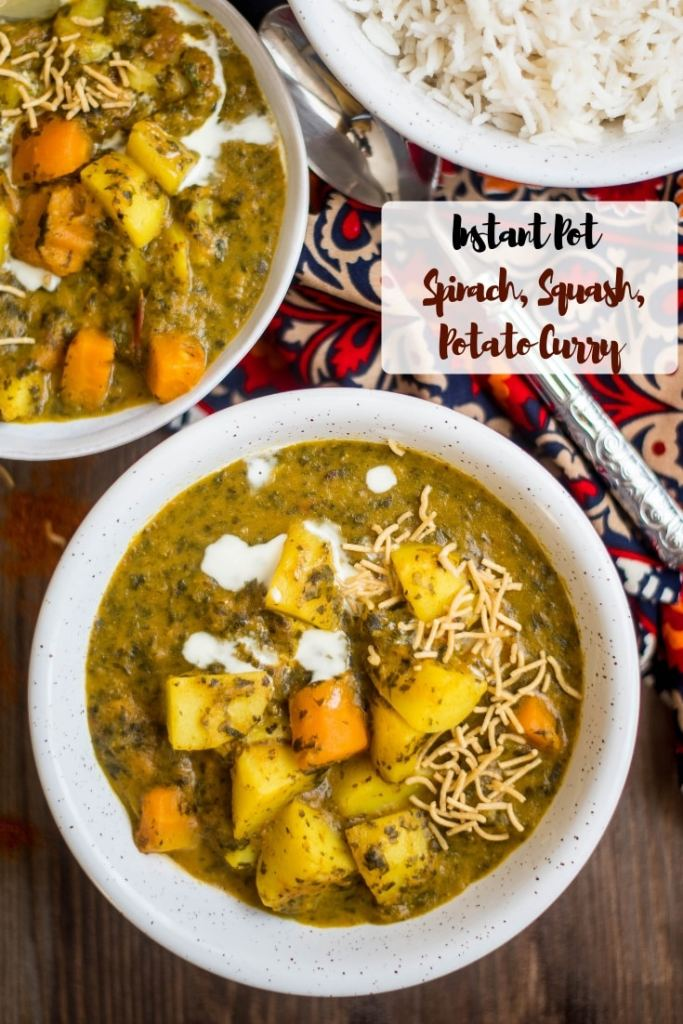 Instant Pot Potato, Pumpkin and Spinach Curry