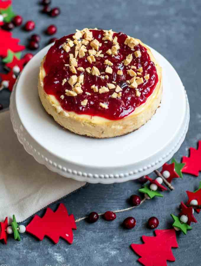 Instant Pot White Chocolate and Cranberry Cheesecake