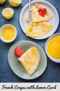 Crepes on a plate with lemon curd