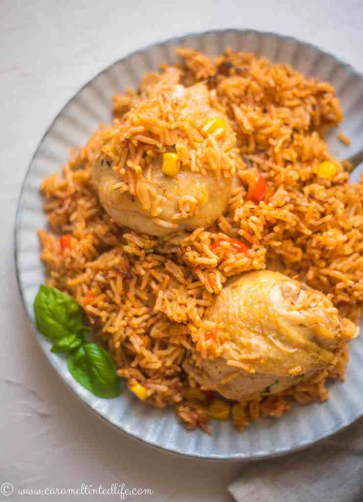 Serving of chicken and rice on a plate