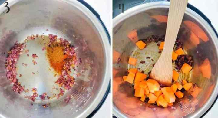 Cooking spices and sweet potato in the Instant Pot