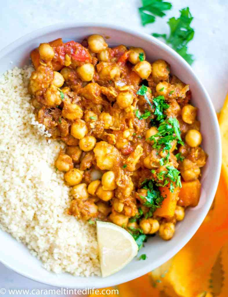 Instant Pot Chickpea tagine in a bowl