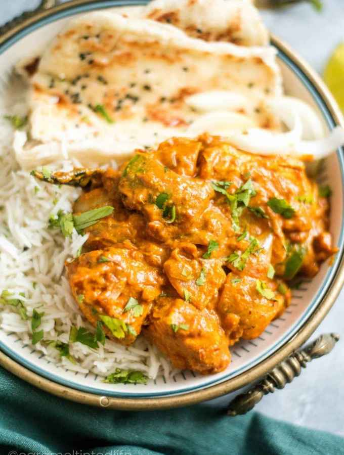 Kadai Chicken served with rice and naan