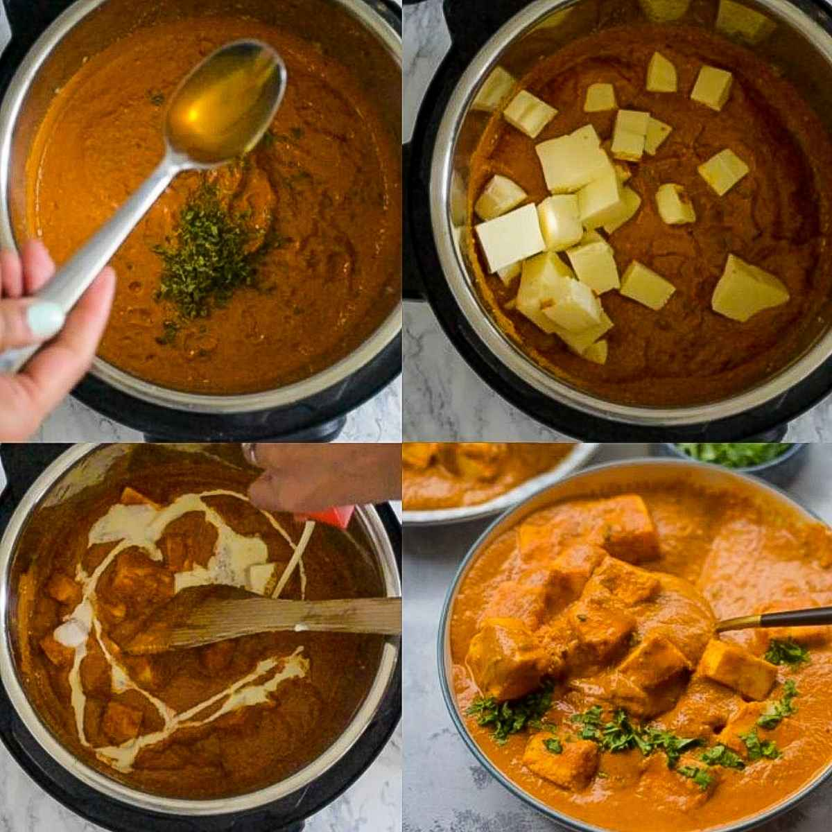 Step-by-step instructions for paneer tikka masala in the Instant Pot