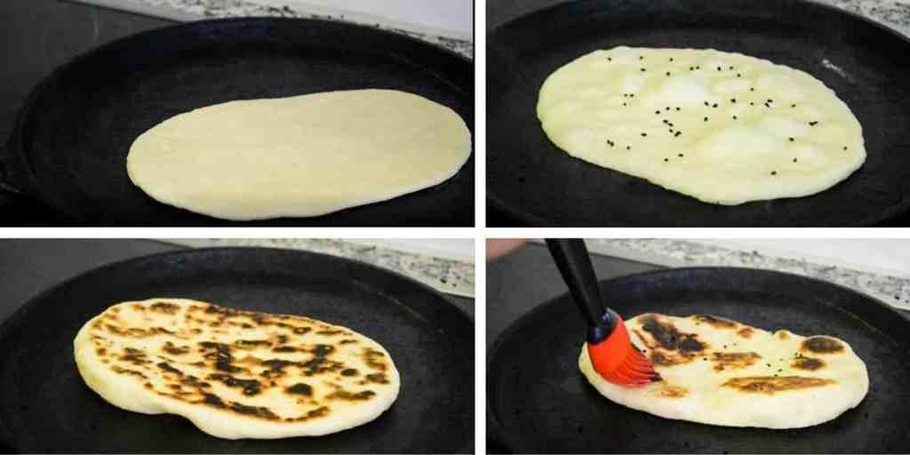 steps for cooking naan on a cast iron pan