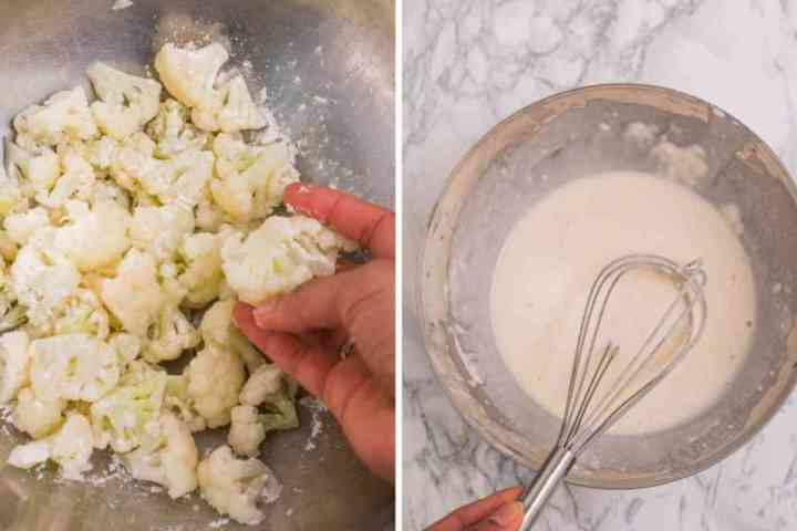 Cauliflower being added to the batter for sweet and sour cauliflower