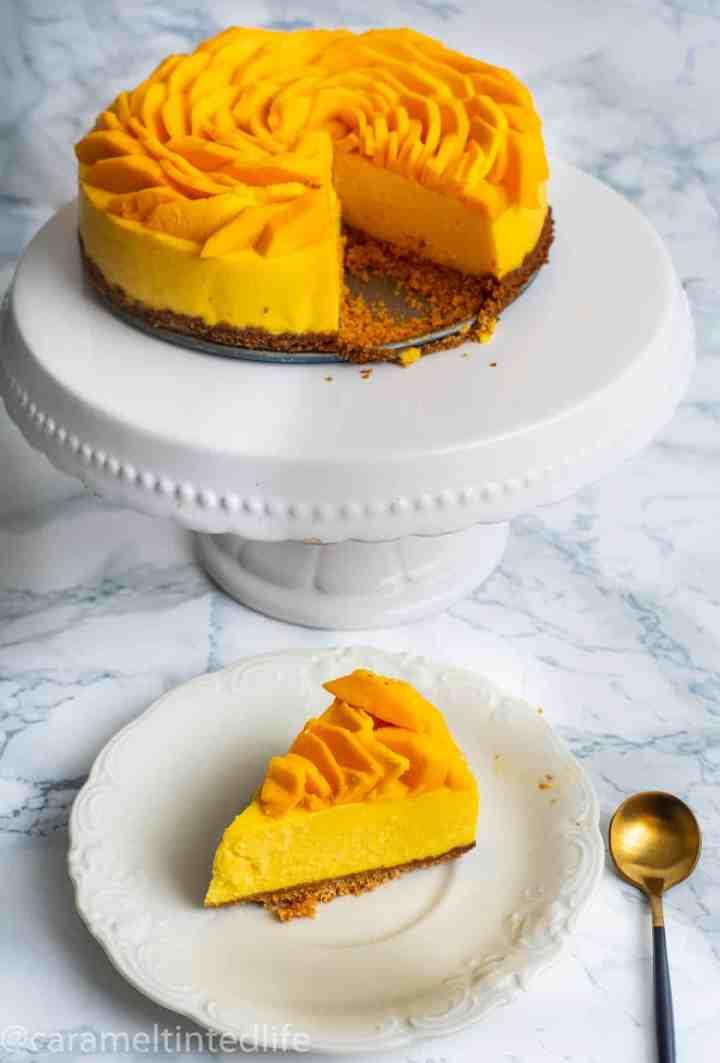 Mango cheesecake, sliced