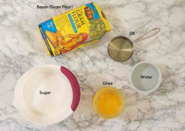 Ingredients for making mysorepak including besan, oil, ghee, sugar and water