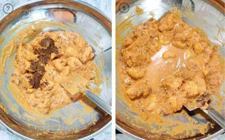 Adding garam masala and water to the chicken korma in the wok