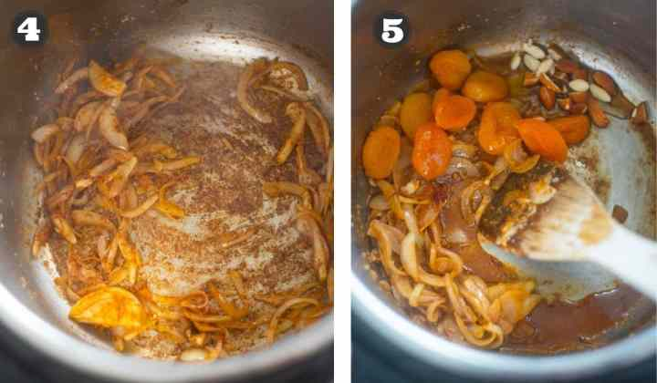 Collage of images showing spices, onions and apricots cooking in the Instant Pot