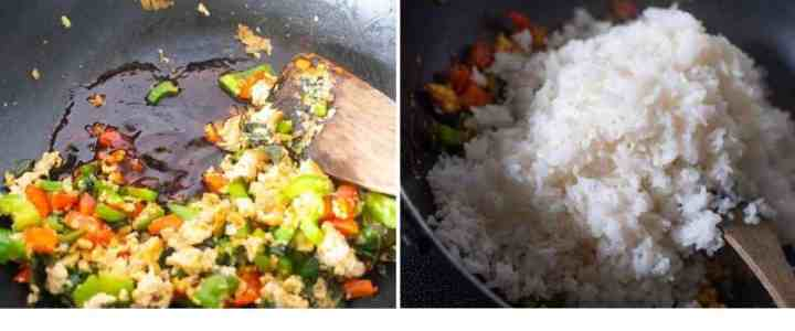 Collage of images showing addition of sauces and cooked rice to the ingredients in the wok