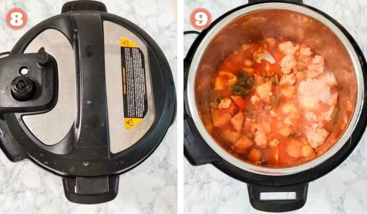Collage showing pressure cooked vegetables in an Instant Pot