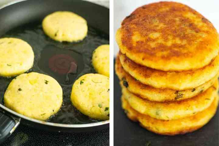 image collage of aloo tikkis fried in a frying pan then stacked