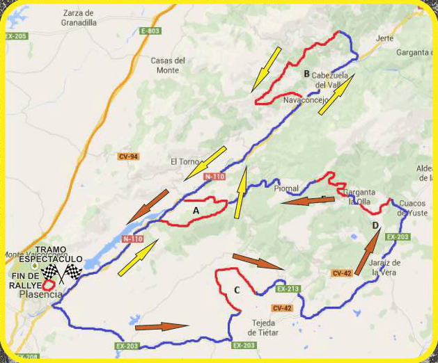 Mapa Rally Norte Extremadura 2015