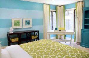 Aplikasi Warna Cat Kamar Tidur Minimalis Biru Turkis