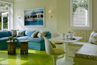 Desain Ruang Tamu Minimalis Mewah Dengan Kombinasi Warna Turqouise Yang Segar