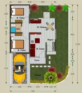 Konsep Rumah Minimalis Terbaru Type 45 dengan memaksimalkan taman depan dan belakang
