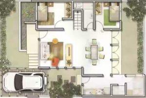 Konsep Rumah Minimalis Terbaru Type 45 dimana ruang tamu, ruang keluarga dan ruang makan jadi satu
