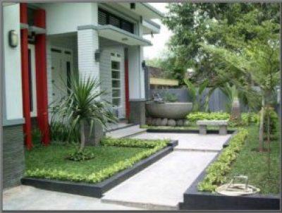 Model Desain Taman Minimalis dan Teras Rumah dengan Bangunan Jalan Setapak Kecil di Tengahnya